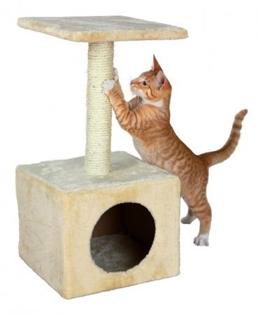 Drapak słupek z budką dla kota - beż
