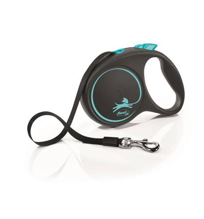 Flexi Black Design Smycz automatyczna Taśma Large 5m czarno-niebieska