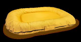 Nowoczesny, modny ponton - legowisko wodoodporne z wymiennymi pokrowcami z kodury M żółty