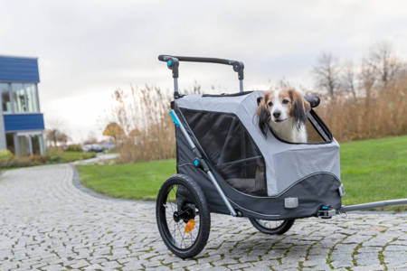 Przyczepka rowerowa dla psa Przyczepa rowerowa z funkcją szybkiego składania L szara