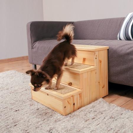 Schody dla psa, Drewniany podest ze schowkami w schodkach - 40x38x45 cm - do 50 kg